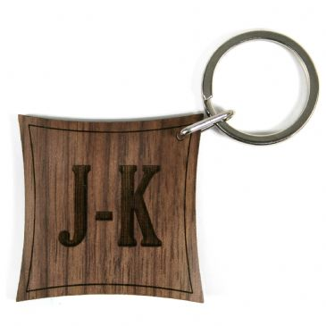 Contemporary Monogram Walnut Keyring